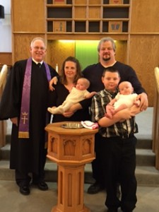 Tim, Tami, Noah, Sterling and MacKenzie Brown.  The twins were baptized on March 6, 2016