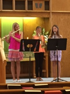 Krysta and Emily Roehrig and Claudia Brown provided special music on June 26