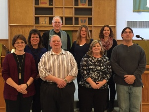 2017-18 council members are (front row l to r)  Kelly Kress, president, Dale Hintz, treasurer, Colleen Marx, Fred Kubichka, vice president.  (back row)  Kari Meyers, Pastor Mike, Jamie Plate, secretary and Kelly Brown